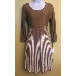 NWT Calvin Klein tan and ivory knit dress